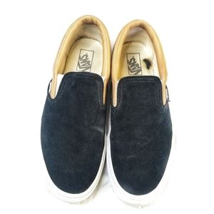 Vans Men's Black Suede & Tan Leather Slip Ons  11